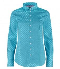 Женская полуприталенная рубашка, бирюзовая - манжеты на пуговицах