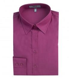 Женская полуприталенная однотонная хлопковая рубашка цвета фуксии