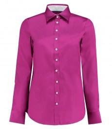 Женская полуприталенная рубашка, фуксия - манжеты на пуговицах