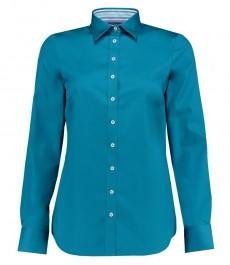 Женская полуприталенная рубашка, темно-бирюзовая - манжеты на пуговицах