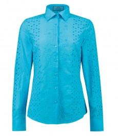 Women's Turquoise Broderie Anglaise Semi Fitted Shirt - Single Cuff