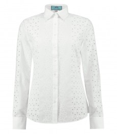 Women's White Broderie Anglaise Semi Fitted Shirt - Single Cuff