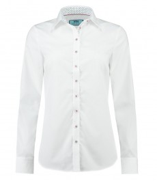 Женская полуприталенная рубашка, белая с контрастными деталями - манжеты на пуговицах