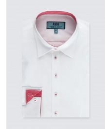 Женская полуприталенная рубашка, с красными контрастными деталями - манжеты на пуговицах
