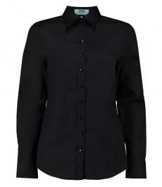 Женская полуприталеная рубашка, черная, хлопок
