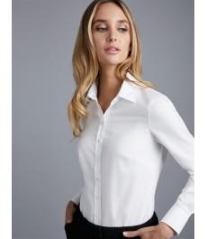 Женская однотонная рубашка, белая, полуприталенная хлопок