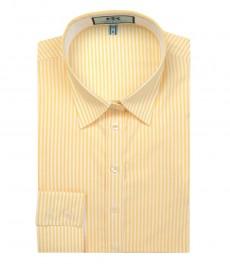 Женская полуприталенная желтая рубашка в полоску