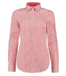 Женская коралловая рубашка, в белую полоску, полуприталенная