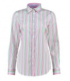 Женская полуприталенная рубашка в розово-зелёную стильную мульти-полоску