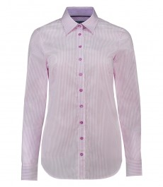 Женская розовая с белую полоску рубашка, полуприталенная