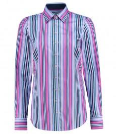 Женская полуприталенная рубашка, сиреневая в голубую полоску - манжеты на пуговицах