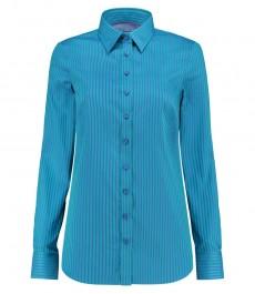 Женская полуприталенная рубашка, голубая в зеленую полоску - манжеты на пуговицах