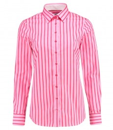 Женская полуприталенная рубашка, розовая в красную полоску - манжеты на пуговицах