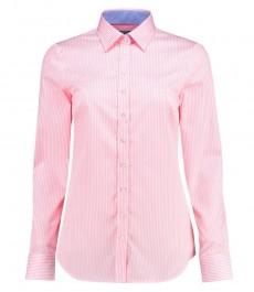 Женская полуприталенная рубашка, розовая в белую бенгальскую полоску - манжеты на пуговицах