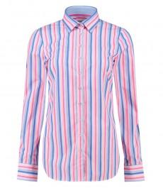 Женская полуприталенная рубашка, розовая в голубую полоску, хлопок - манжеты на пуговицах