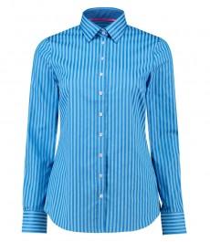 Женская полуприталенная рубашка, голубая в полоску в тон, хлопок - манжеты на пуговицах