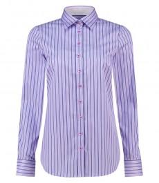 Женская полуприталенная рубашка, сиреневая в темно-синюю полоску, хлопок - манжеты на пуговицах