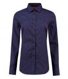 Женская полуприталенная рубашка, темно-синяя в красную полоску, хлопок - манжеты на пуговицах