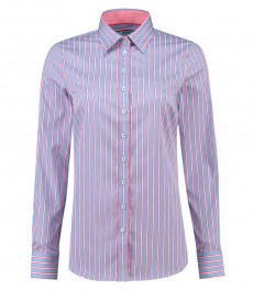 Women's Multi Stripe Semi-Fitted Cotton Shirt - Single Cuff