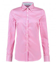 Women's Fuchsia & White Stripe Semi-Fitted Cotton Shirt - Single Cuff