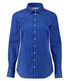 Женская полуприталенная рубашка, темно-синяя в белую полоску - манжеты на пуговицах