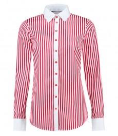 Женская полуприталенная рубашка, красная в белую бенгальскую полоску - манжеты на пуговицах
