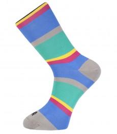 Мужские носки, H&C голубая с зеленой полоской, хлопок