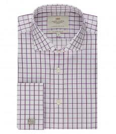 Мужская белая в крупную фиолетовую клетку рубашка, приталенная - срезанный воротник