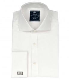 Приталенная мужская рубашка Windsor, белая, ткань твил, срезанный воротничок