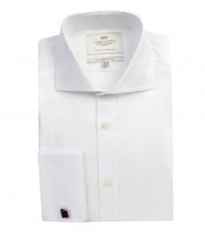 Мужская однотонная белая рубашка, твил, приталенная - срезанный воротник