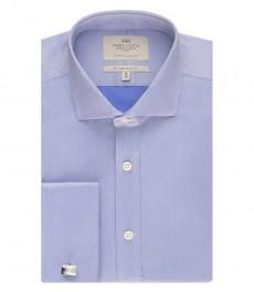 Мужская приталенная рубашка, голубая, ткань пике - легко гладися