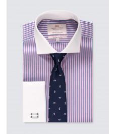 Мужская приталенная рубашка, рукав под запонку