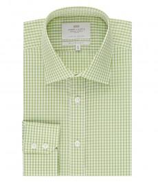 Мужская рубашка, зеленая в белую клетку, приталенная - манжеты на пуговицах