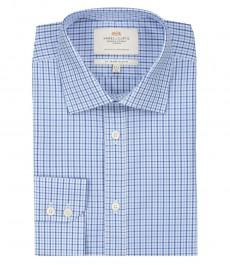 Мужская приталенная рубашка, ярко-голубая в темно-синюю клетку-одинарные манжеты.
