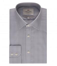 Мужская приталенная рубашка в клетку, цвет серый - манжеты на пуговицах