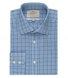 Мужская  приталенная рубашка, голубая в темно-синюю клетку - манжеты на запонках