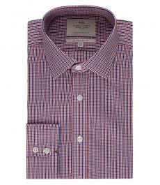 Мужская приталенная рубашка, красная в темно-синюю клетку - манжеты на пуговицах