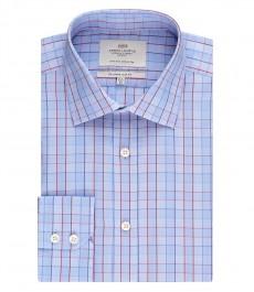 Мужская приталенная рубашка, голубая в красную полоску - манжеты на пуговицах - легко гладится