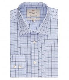 Мужская приталенная рубашка, голубая в белую клетку - манжеты на пуговицах - легко гладится