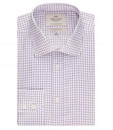 Мужская приталенная рубашка, белая в сиреневую клетку - манжеты на пуговицах - легко гладится