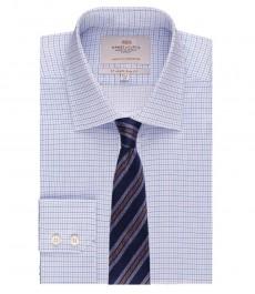 Мужская приталенная рубашка, светло - голубая в голубую клетку - манжеты на пуговицах - легко гладится
