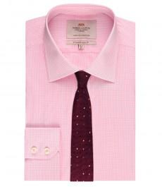 Мужская приталенная рубашка, розовая в белую мелкую клетку - манжеты на пуговицах - легко гладится
