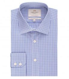 Мужская приталенная рубашка, голубая в темно-синюю клетку - манжеты на пуговицах - легко гладится