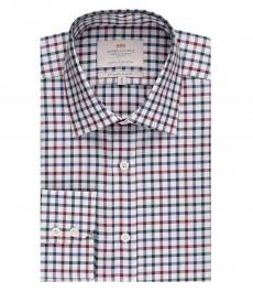 Мужская приталенная рубашка, голубая в красную клетку - манжеты на пуговицах