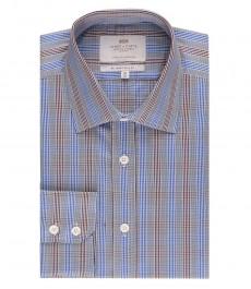 Мужская приталенная рубашка, коричневая и голубая клетка - манжеты на пуговицах