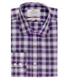 Мужская приталенная рубашка, фиолетовая в зеленую клетку - манжеты на пуговицах