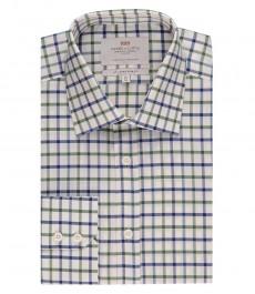 Мужская приталенная рубашка, зеленая и голубая клетка - манжеты на пуговицах