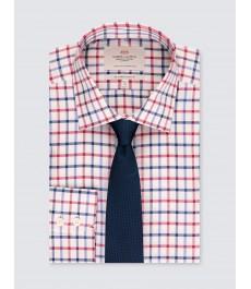 Мужская офисная приталенная рубашка St James, голубая с красным частая клетка - легко гладится