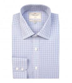 Мужская белая приталенная рубашка в розовую и голубую клетку, хлопок-не требует глажки