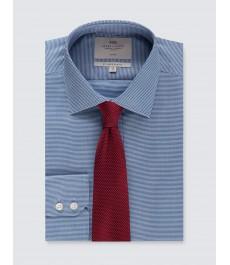 Мужская офисная приталенная рубашка,  тёмно-синяя, в ломаную клетку - Рукав под пуговицу - Не требует глажки